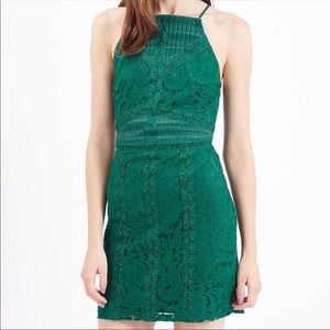 TOPSHOP Emerald Green Lace Bodycon Mini Dress